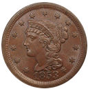 braided hair cent 1839-1857 front
