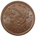 braided hair half cent 1840-1857 front