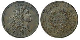 flowing hair large cent 1793-1796