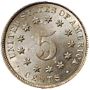 shield nickel 1866-1883 back
