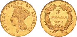 gold three dollars 1854-1889