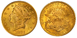 gold twenty dollar liberty Head 1850-1907