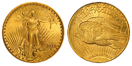 gold twenty dollars St Gaudens 1907-1933