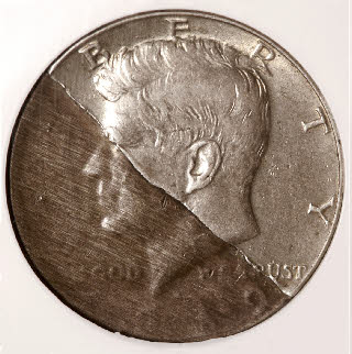 Lamination errors are a thin layer of metal the peels from a struck coin and can be missing or retain.